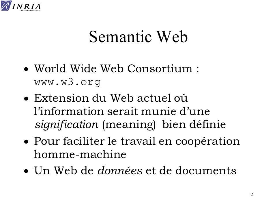 13 RDF Resource Description Framework Annotations sémantiques décrivant le contenu des documents Permet de faire des recherches d information en utilisant ces annotations