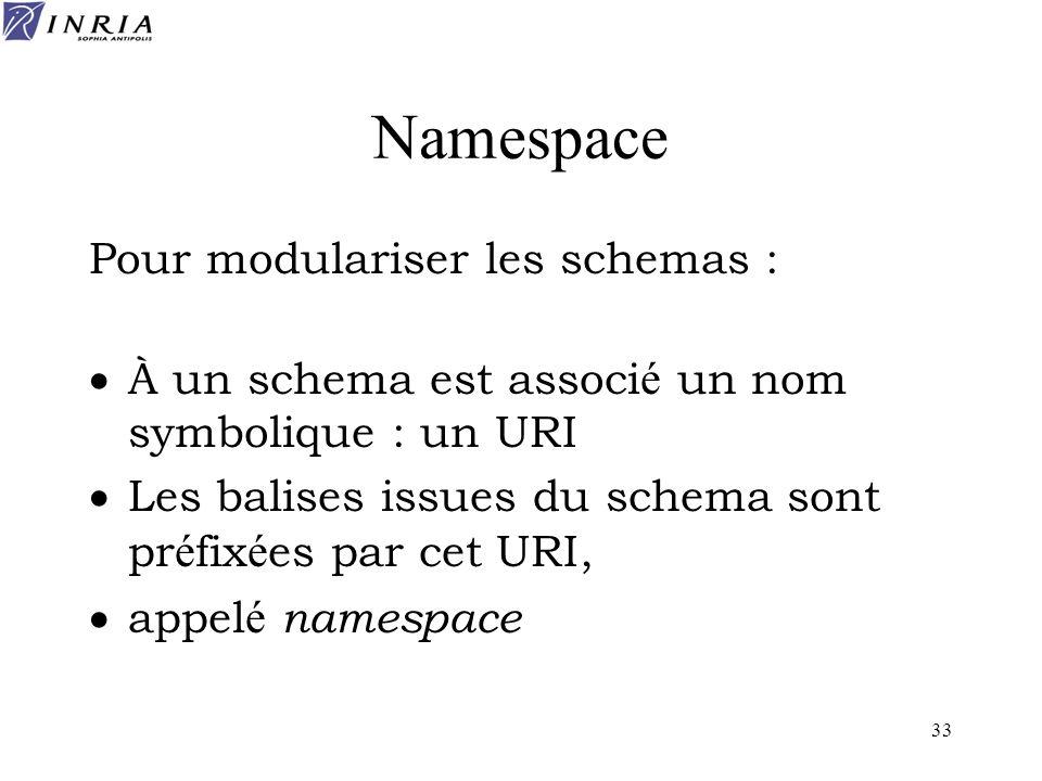 33 Namespace Pour modulariser les schemas : À un schema est associ é un nom symbolique : un URI Les balises issues du schema sont pr é fix é es par ce