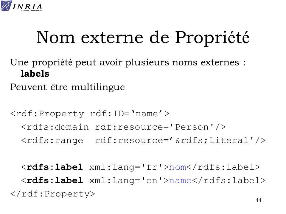 44 Nom externe de Propri é t é Une propri é t é peut avoir plusieurs noms externes : labels Peuvent être multilingue nom name