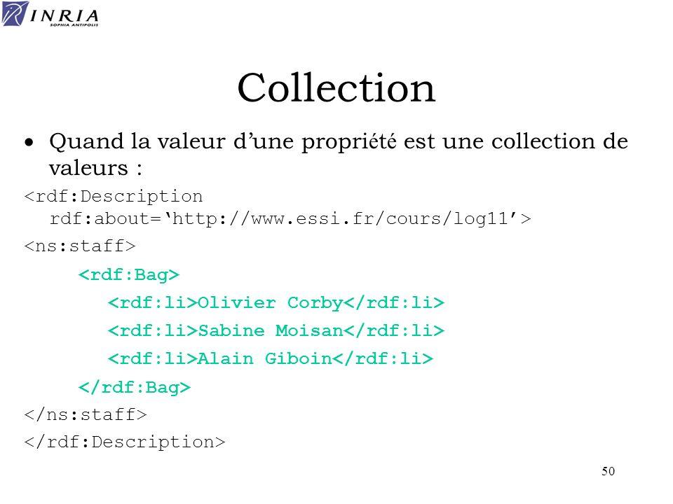 50 Collection Quand la valeur dune propri é t é est une collection de valeurs : Olivier Corby Sabine Moisan Alain Giboin