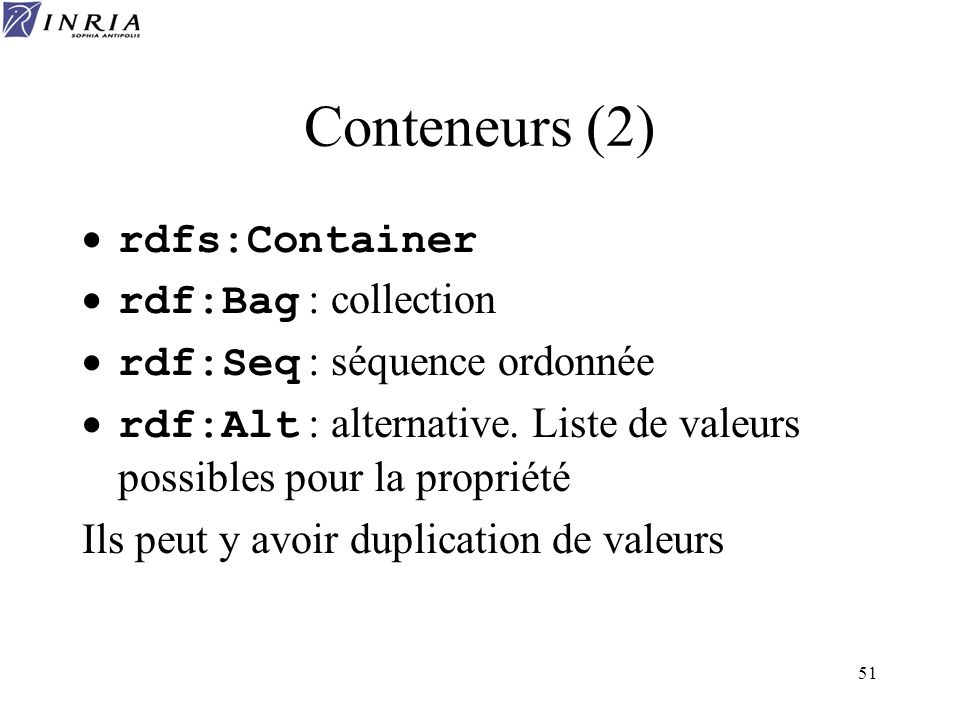 51 Conteneurs (2) rdfs:Container rdf:Bag : collection rdf:Seq : séquence ordonnée rdf:Alt : alternative. Liste de valeurs possibles pour la propriété
