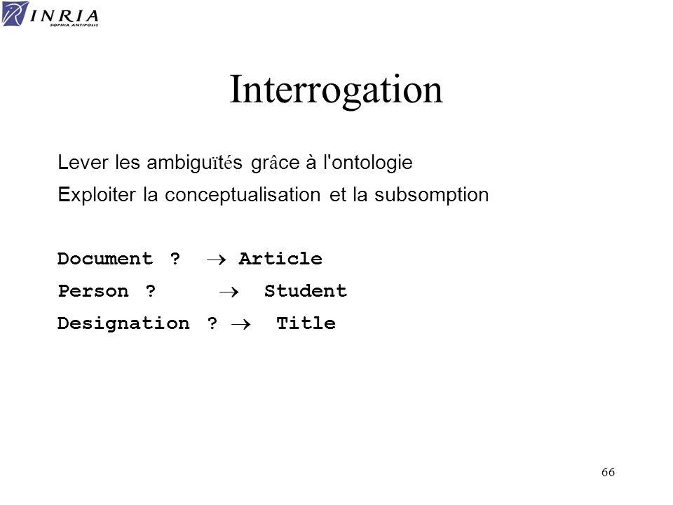 66 Interrogation Lever les ambigu ï t é s gr â ce à l'ontologie Exploiter la conceptualisation et la subsomption Document ? Article Person ? Student D