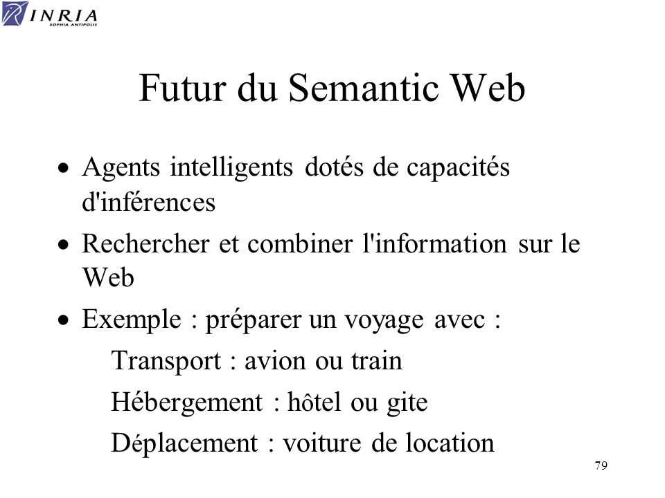 79 Futur du Semantic Web Agents intelligents dot é s de capacit é s d'inf é rences Rechercher et combiner l'information sur le Web Exemple : pr é pare