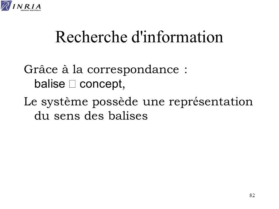 82 Recherche d'information Grâce à la correspondance : balise concept, Le système possède une repr é sentation du sens des balises