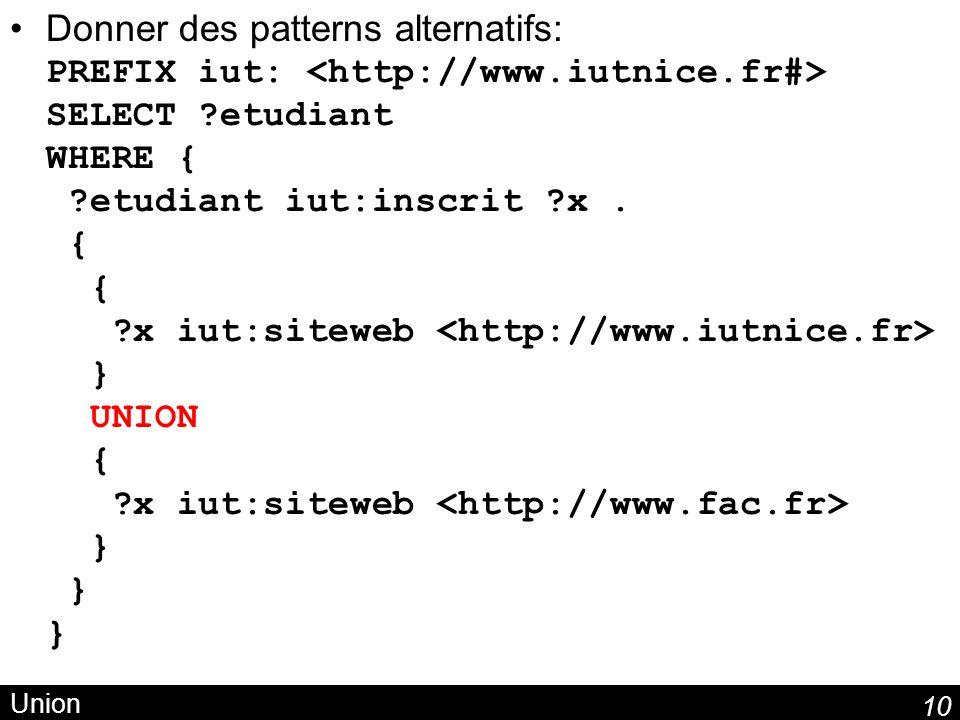 10 Union Donner des patterns alternatifs: PREFIX iut: SELECT ?etudiant WHERE { ?etudiant iut:inscrit ?x. { { ?x iut:siteweb } UNION { ?x iut:siteweb }