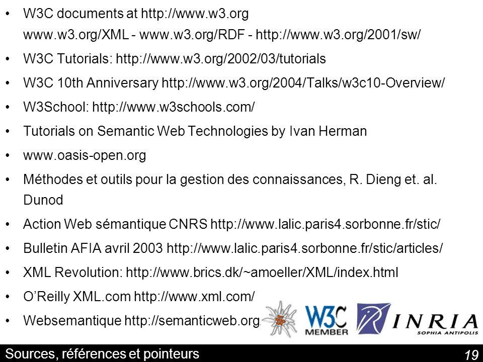 19 Sources, références et pointeurs W3C documents at http://www.w3.org www.w3.org/XML - www.w3.org/RDF - http://www.w3.org/2001/sw/ W3C Tutorials: htt