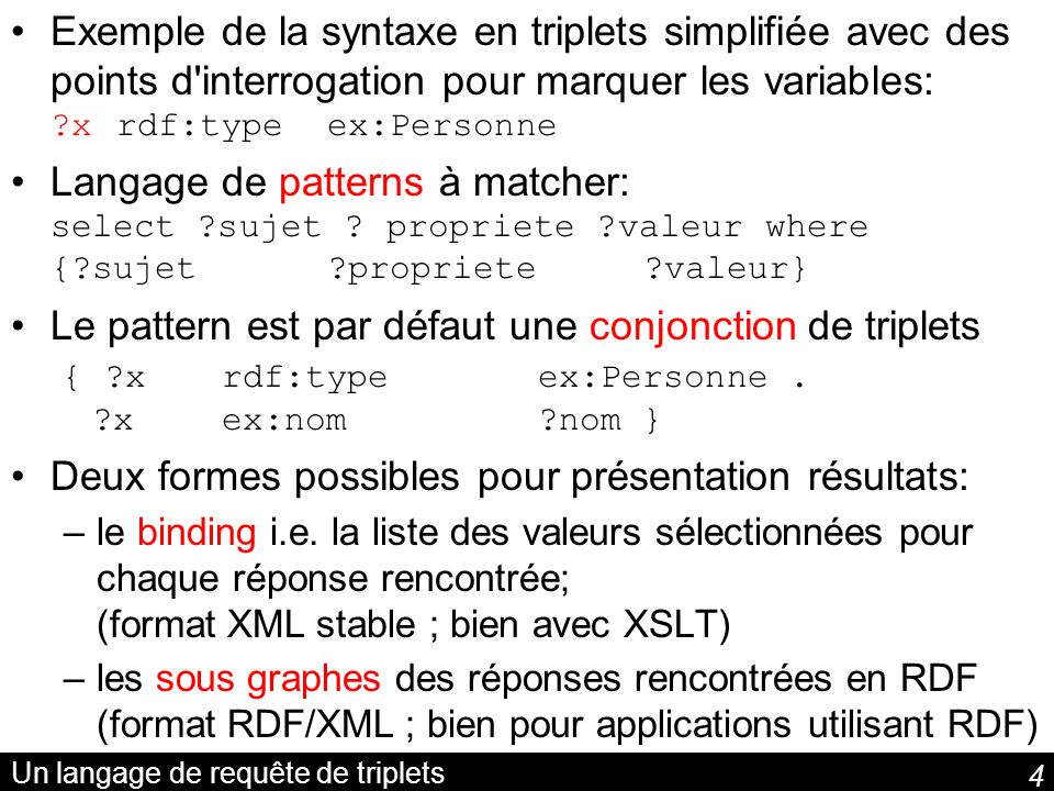 5 Requête simple et namespace Noms et prénoms des auteurs: SELECT ?nom ?prenom WHERE { ?x nom ?nom.