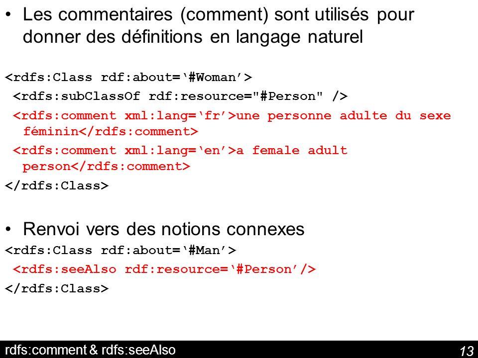 13 rdfs:comment & rdfs:seeAlso Les commentaires (comment) sont utilisés pour donner des définitions en langage naturel une personne adulte du sexe fém