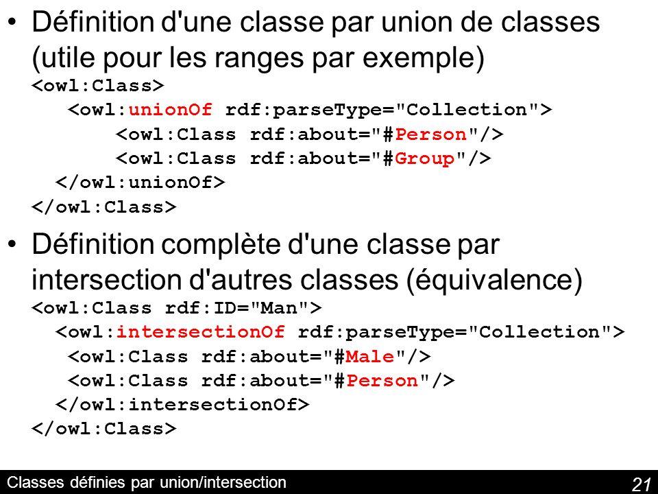 21 Classes définies par union/intersection Définition d'une classe par union de classes (utile pour les ranges par exemple) Définition complète d'une