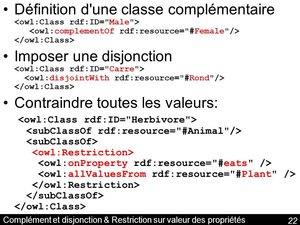 22 Complément et disjonction & Restriction sur valeur des propriétés Définition d'une classe complémentaire Imposer une disjonction Contraindre toutes