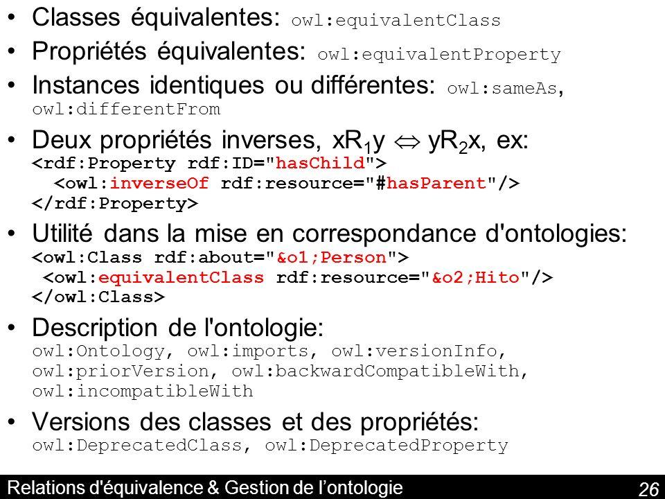 26 Relations d'équivalence & Gestion de lontologie Classes équivalentes: owl:equivalentClass Propriétés équivalentes: owl:equivalentProperty Instances