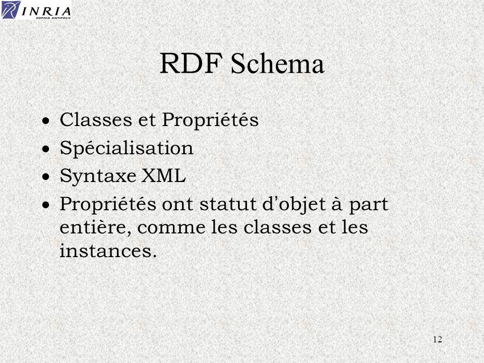 12 RDF Schema Classes et Propriétés Spécialisation Syntaxe XML Propriétés ont statut d objet à part entière, comme les classes et les instances.