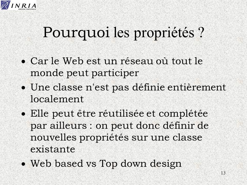 13 Pourquoi les propriétés ? Car le Web est un réseau où tout le monde peut participer Une classe n'est pas définie entièrement localement Elle peut ê