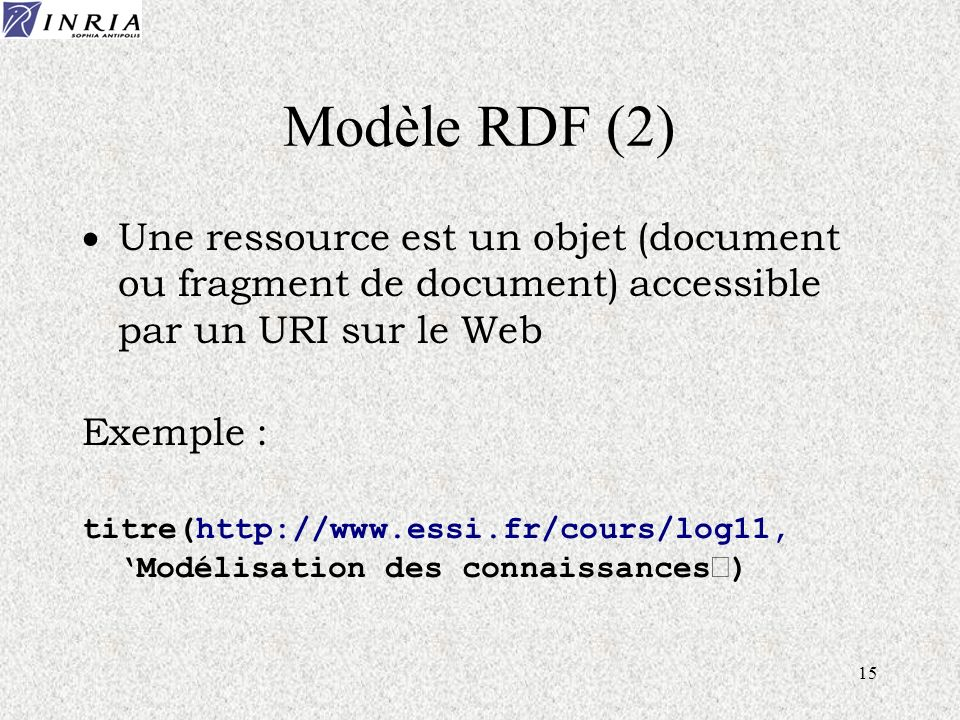 15 Modèle RDF (2) Une ressource est un objet (document ou fragment de document) accessible par un URI sur le Web Exemple : titre(http://www.essi.fr/co
