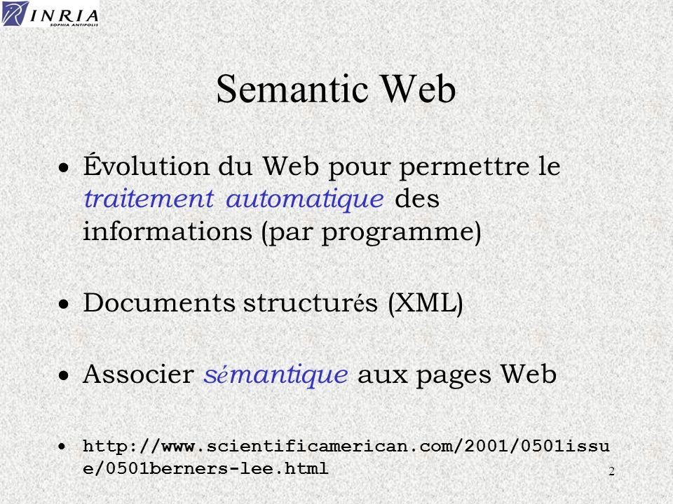 2 Semantic Web Évolution du Web pour permettre le traitement automatique des informations (par programme) Documents structur é s (XML) Associer s é ma