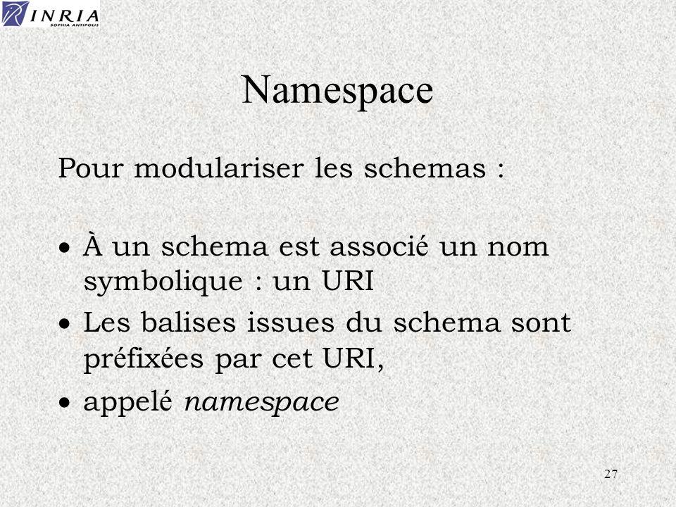27 Namespace Pour modulariser les schemas : À un schema est associ é un nom symbolique : un URI Les balises issues du schema sont pr é fix é es par cet URI, appel é namespace