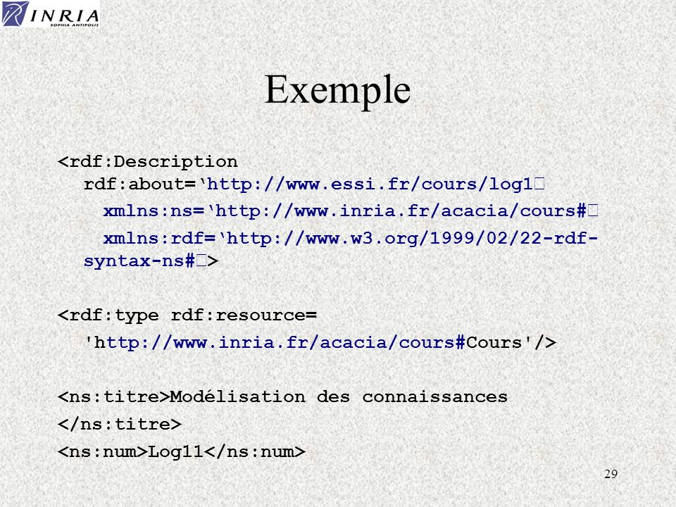 29 Exemple <rdf:Description rdf:about=http://www.essi.fr/cours/log1' xmlns:ns=http://www.inria.fr/acacia/cours#' xmlns:rdf=http://www.w3.org/1999/02/2