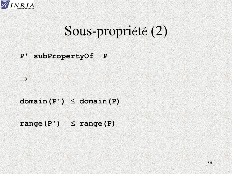 36 Sous-propri é t é (2) P subPropertyOf P domain(P ) domain(P) range(P ) range(P)