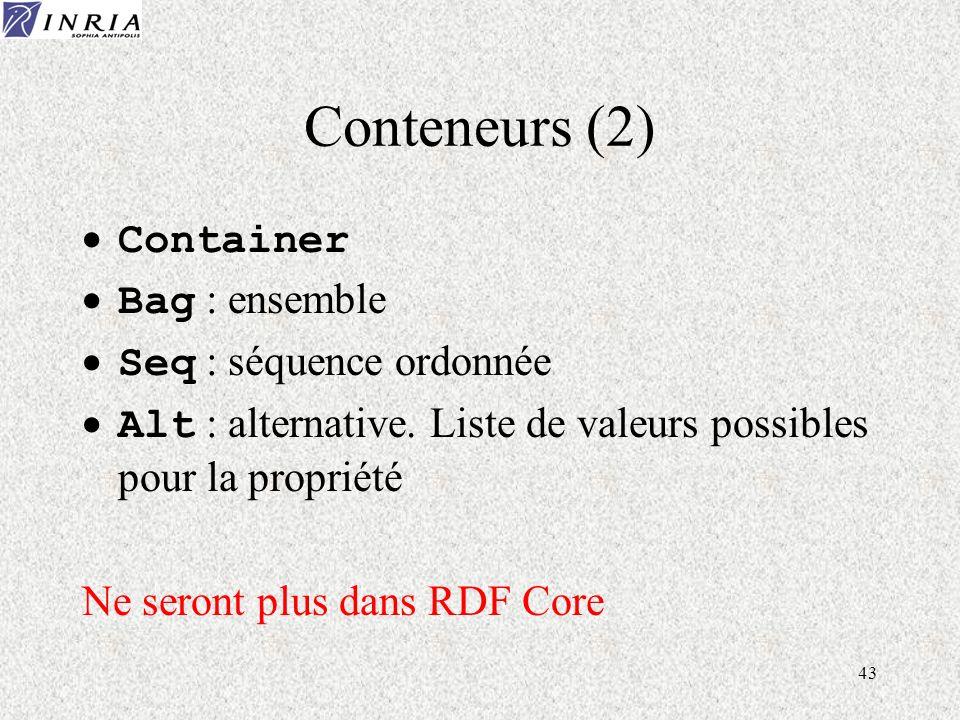 43 Conteneurs (2) Container Bag : ensemble Seq : séquence ordonnée Alt : alternative. Liste de valeurs possibles pour la propriété Ne seront plus dans
