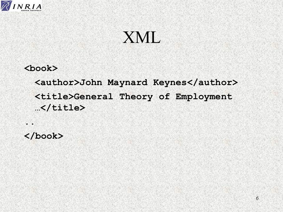 7 XML John Maynard Keynes General Theory of Employment ….. Définit une structure mais pas le sens