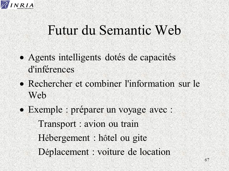 67 Futur du Semantic Web Agents intelligents dot é s de capacit é s d inf é rences Rechercher et combiner l information sur le Web Exemple : pr é parer un voyage avec : Transport : avion ou train H é bergement : h ô tel ou gite D é placement : voiture de location