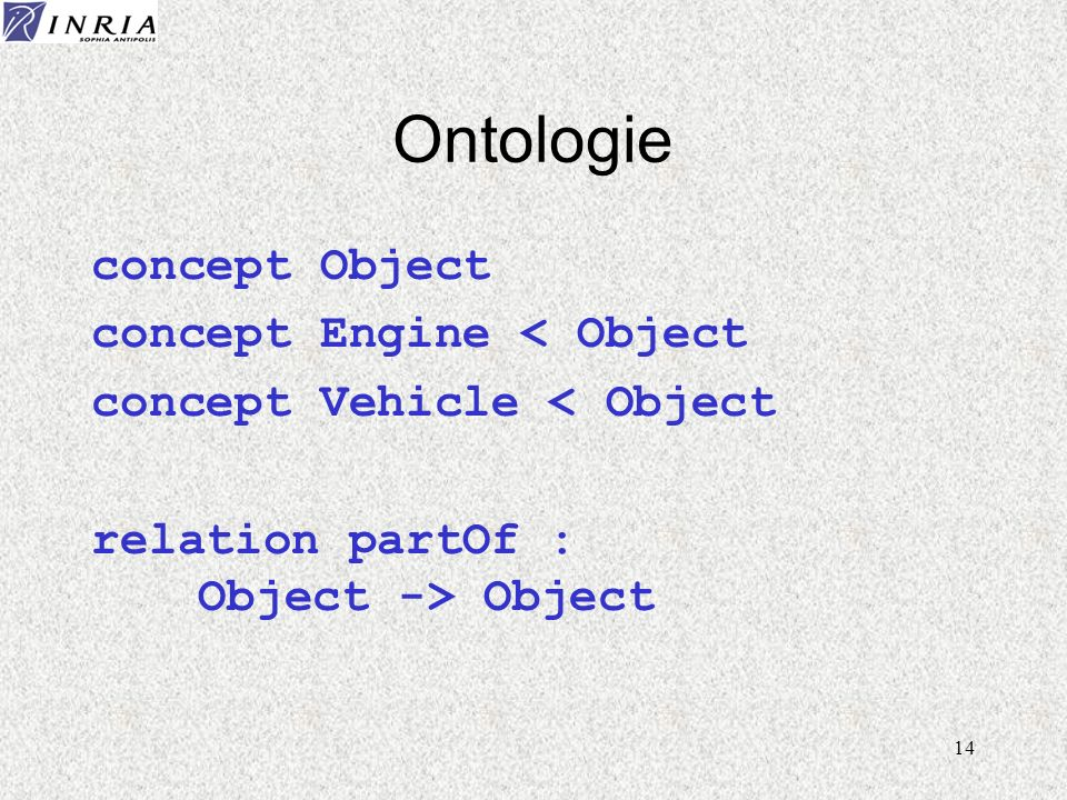 14 Ontologie concept Object concept Engine < Object concept Vehicle < Object relation partOf : Object -> Object