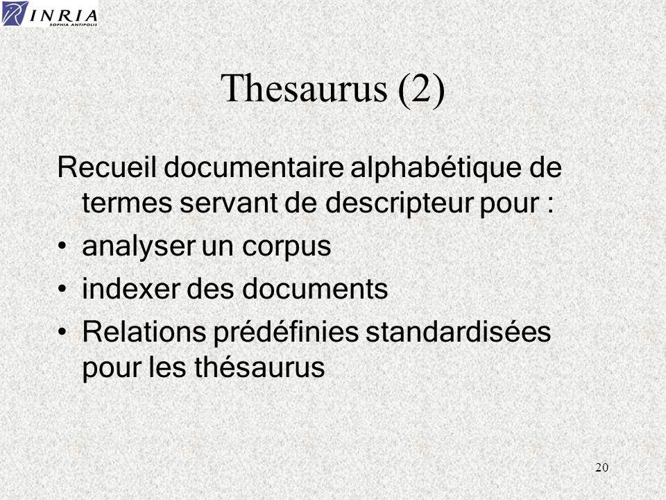 20 Thesaurus (2) Recueil documentaire alphabétique de termes servant de descripteur pour : analyser un corpus indexer des documents Relations prédéfin