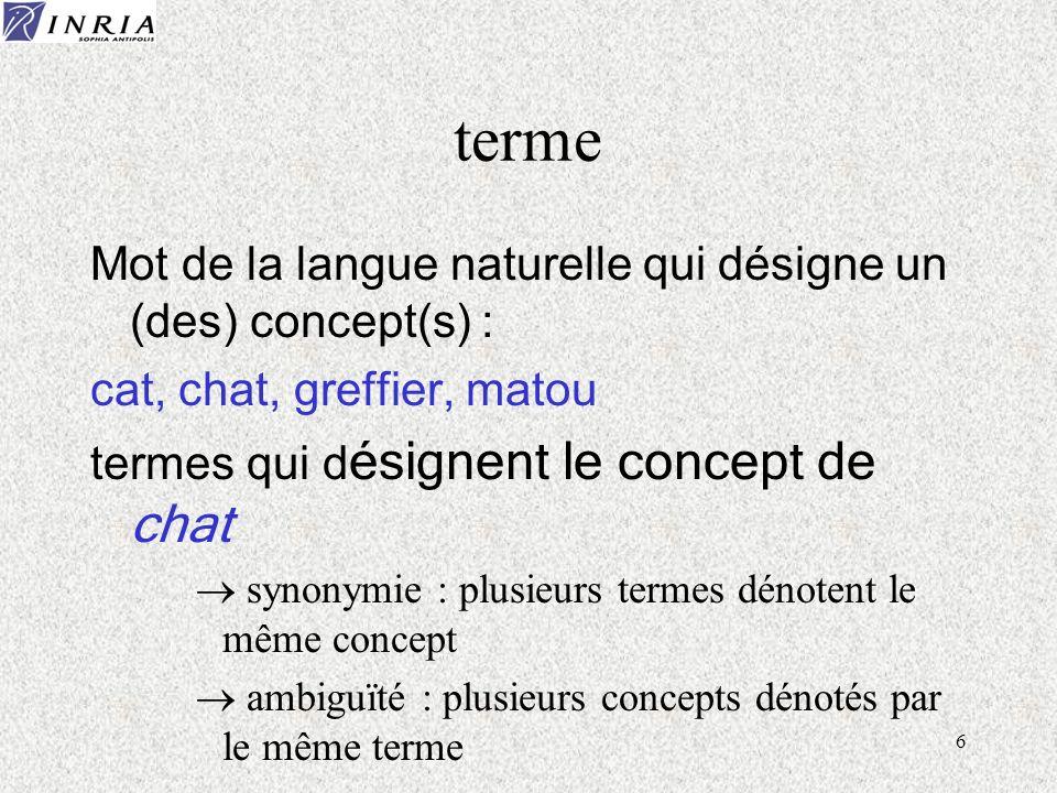 6 terme Mot de la langue naturelle qui désigne un (des) concept(s) : cat, chat, greffier, matou termes qui d ésignent le concept de chat synonymie : p