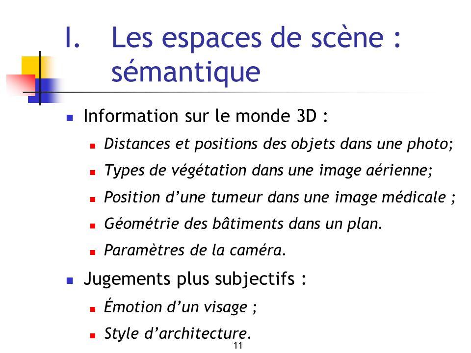 11 I. Les espaces de scène : sémantique Information sur le monde 3D : Distances et positions des objets dans une photo; Types de végétation dans une i