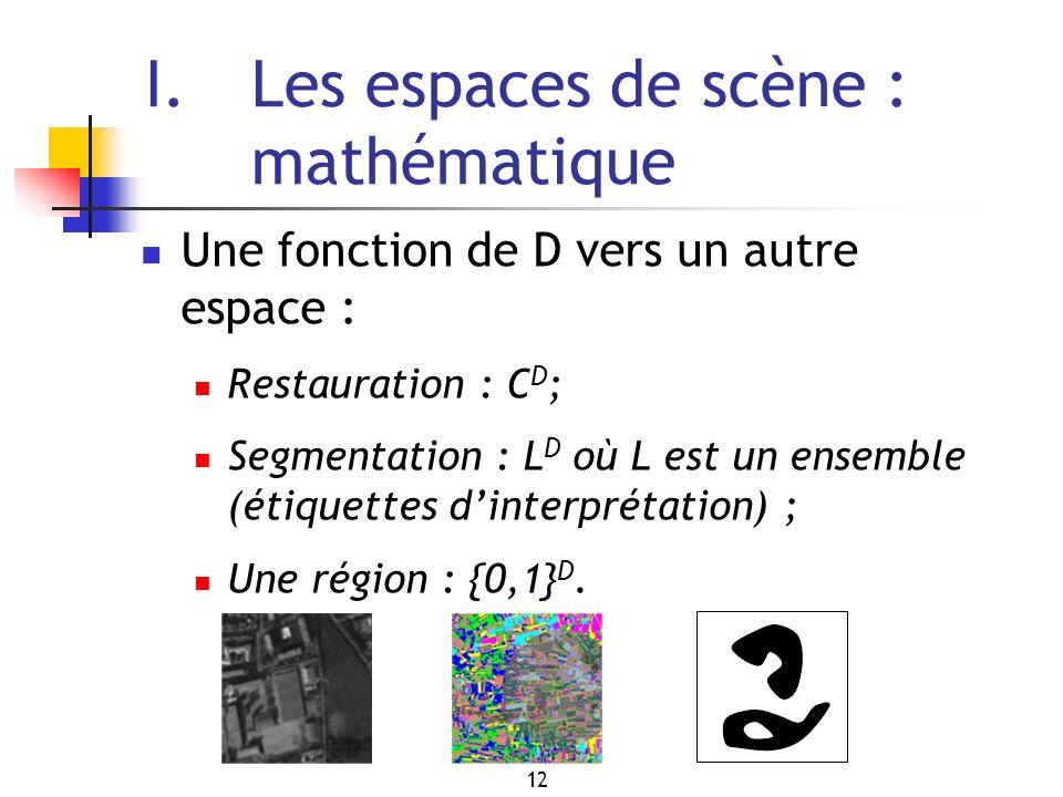 12 I.Les espaces de scène : mathématique Une fonction de D vers un autre espace : Restauration : C D ; Segmentation : L D où L est un ensemble (étiquettes dinterprétation) ; Une région : {0,1} D.