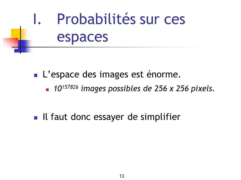 13 I. Probabilités sur ces espaces Lespace des images est énorme. 10 157826 images possibles de 256 x 256 pixels. Il faut donc essayer de simplifier