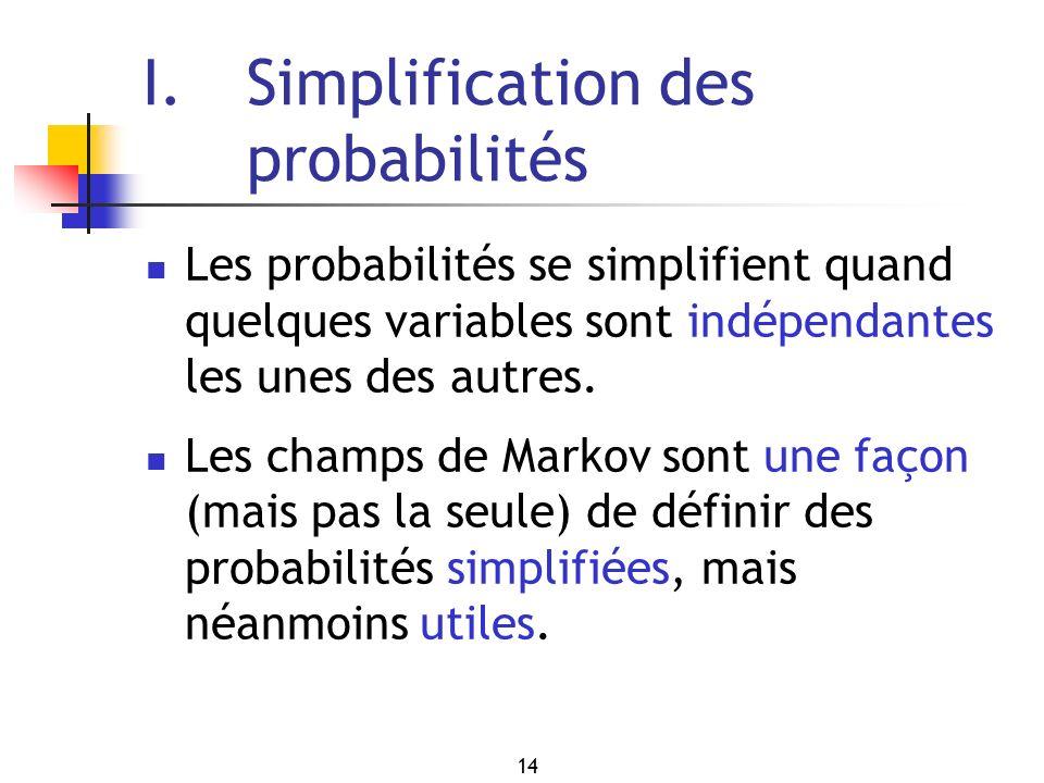 14 I. Simplification des probabilités Les probabilités se simplifient quand quelques variables sont indépendantes les unes des autres. Les champs de M