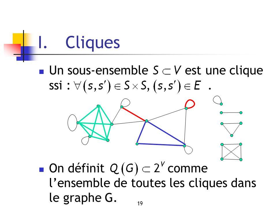 19 Un sous-ensemble est une clique ssi :. On définit comme lensemble de toutes les cliques dans le graphe G. I. Cliques