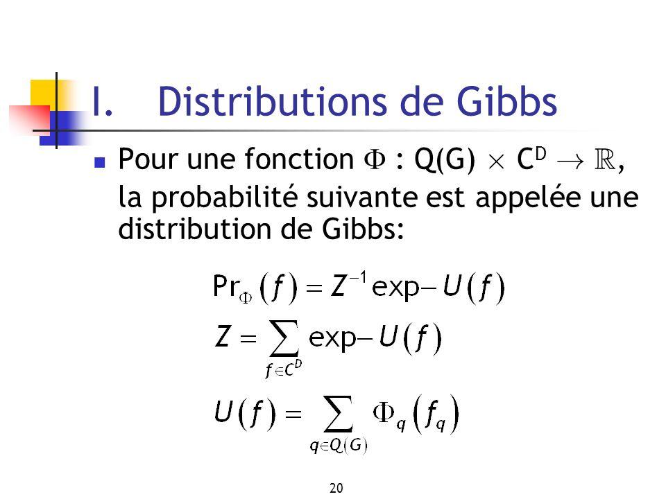 20 I. Distributions de Gibbs Pour une fonction : Q(G) £ C D ! R, la probabilité suivante est appelée une distribution de Gibbs: