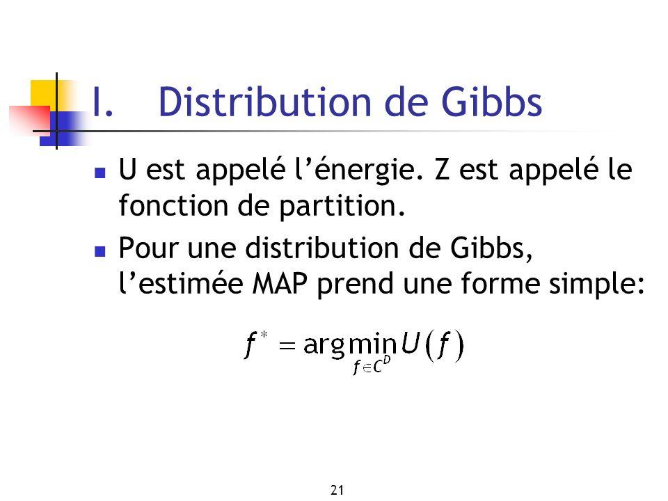 21 I. Distribution de Gibbs U est appelé lénergie. Z est appelé le fonction de partition. Pour une distribution de Gibbs, lestimée MAP prend une forme