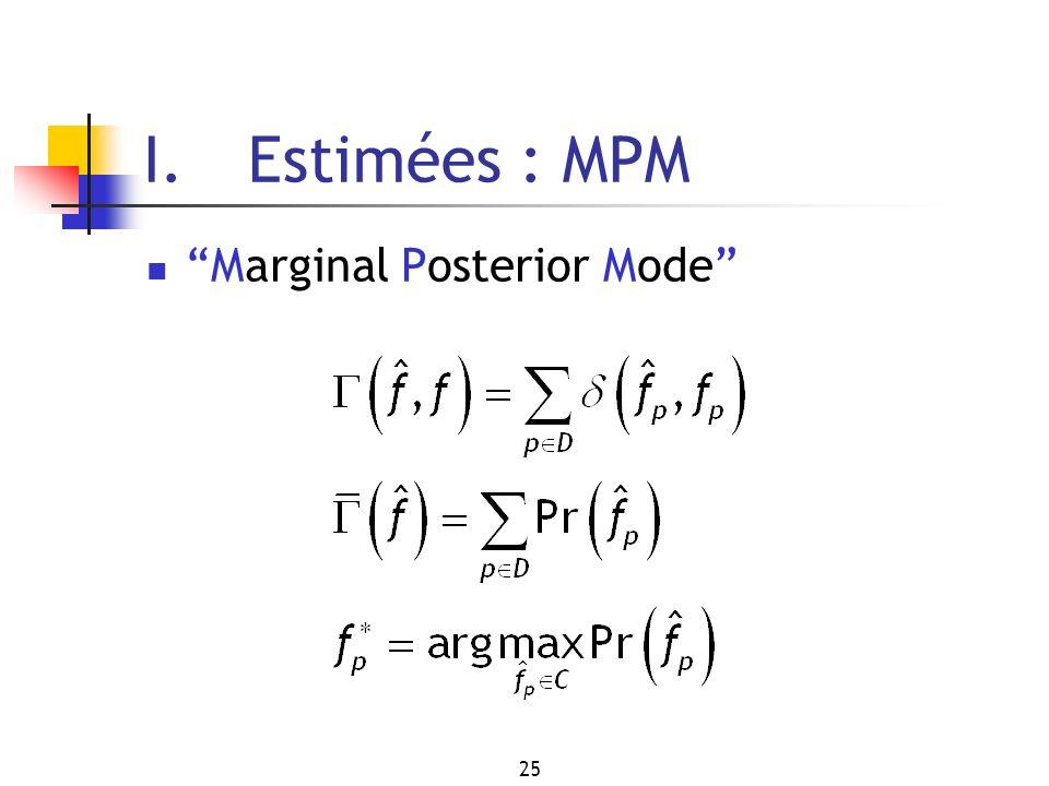 25 I. Estimées : MPM Marginal Posterior Mode