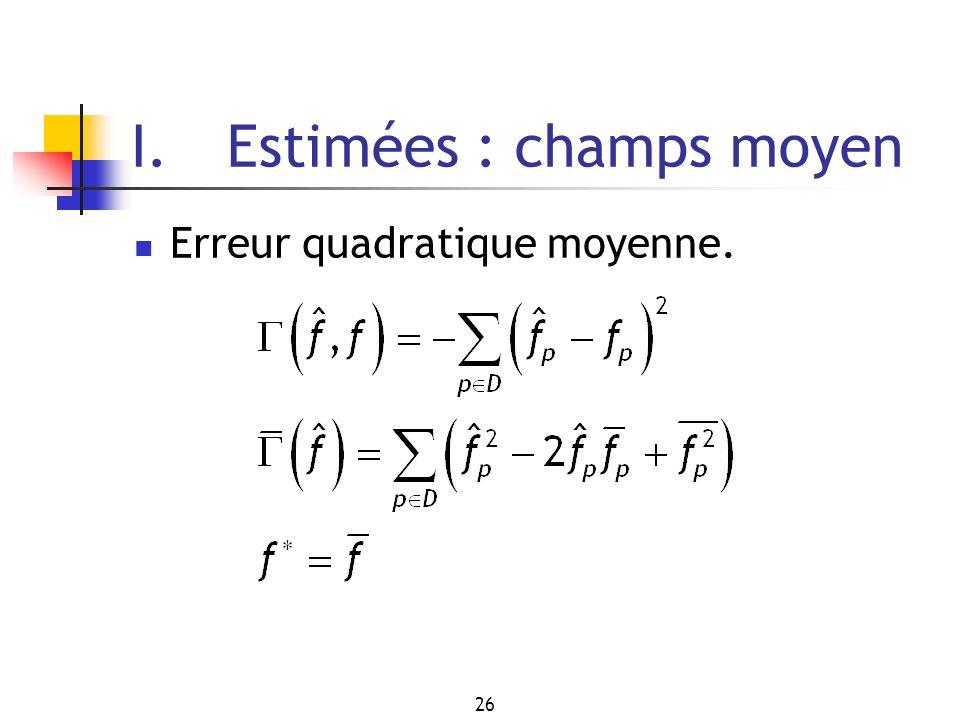 26 I. Estimées : champs moyen Erreur quadratique moyenne.
