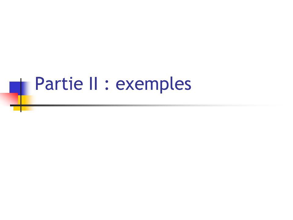 Partie II : exemples