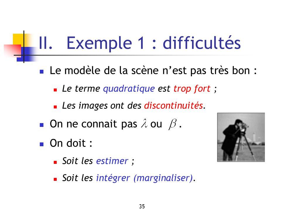 35 II. Exemple 1 : difficultés Le modèle de la scène nest pas très bon : Le terme quadratique est trop fort ; Les images ont des discontinuités. On ne