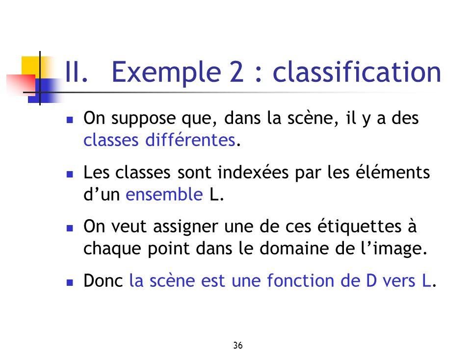 36 II. Exemple 2 : classification On suppose que, dans la scène, il y a des classes différentes. Les classes sont indexées par les éléments dun ensemb