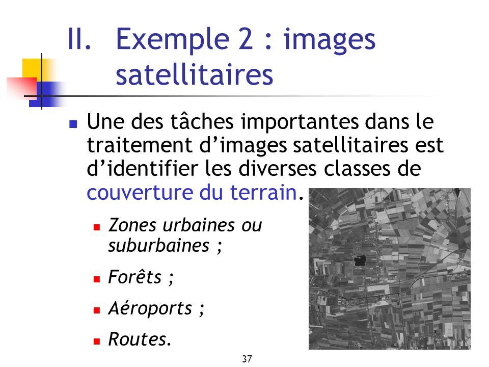 37 II. Exemple 2 : images satellitaires Une des tâches importantes dans le traitement dimages satellitaires est didentifier les diverses classes de co