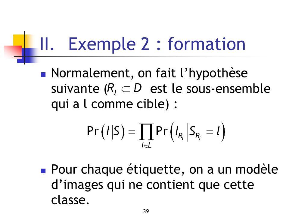 39 II. Exemple 2 : formation Normalement, on fait lhypothèse suivante ( est le sous-ensemble qui a l comme cible) : Pour chaque étiquette, on a un mod