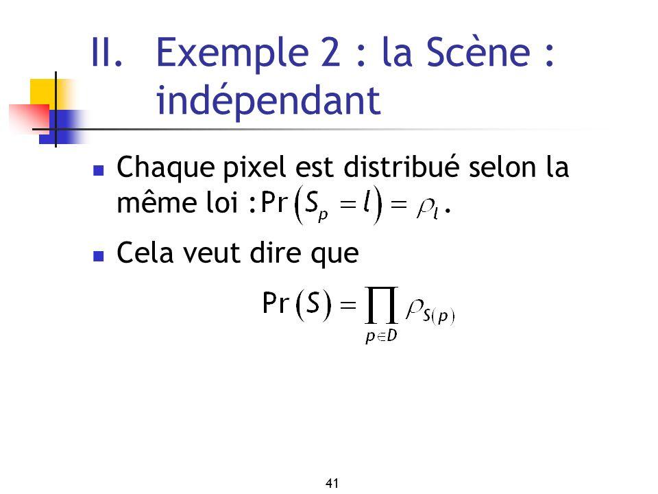 41 II. Exemple 2 : la Scène : indépendant Chaque pixel est distribué selon la même loi :. Cela veut dire que
