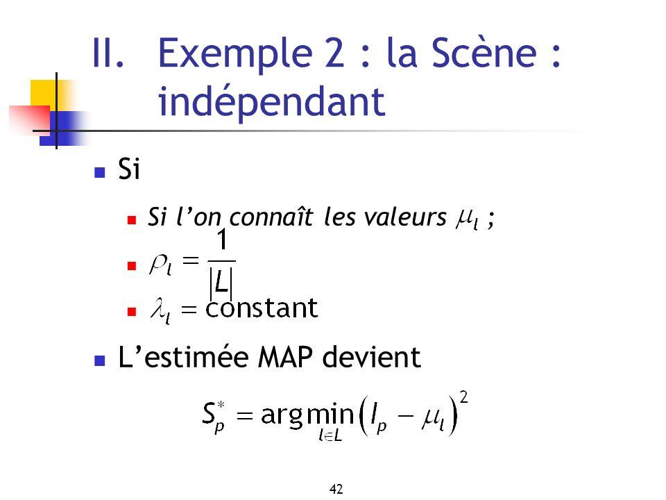 42 II. Exemple 2 : la Scène : indépendant Si Si lon connaît les valeurs ; Lestimée MAP devient