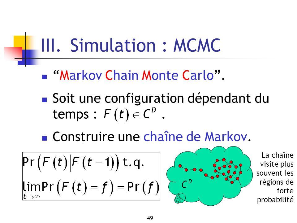 49 III. Simulation : MCMC Markov Chain Monte Carlo. Soit une configuration dépendant du temps :. Construire une chaîne de Markov. La chaîne visite plu