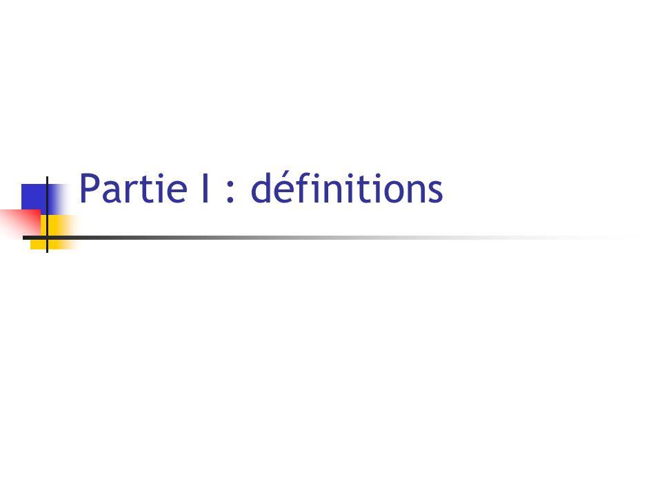 Partie I : définitions