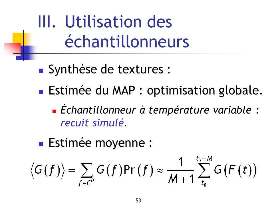 53 III.Utilisation des échantillonneurs Synthèse de textures : Estimée du MAP : optimisation globale. Échantillonneur à température variable : recuit