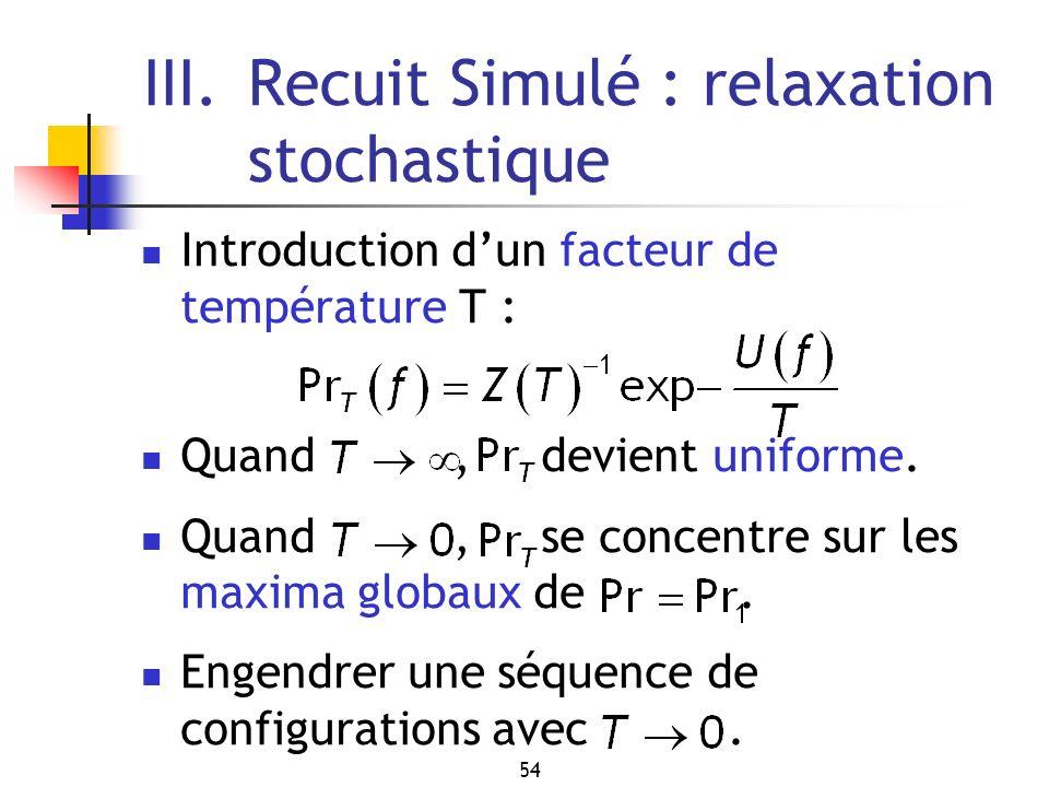 54 III.Recuit Simulé : relaxation stochastique Introduction dun facteur de température T : Quand, devient uniforme. Quand, se concentre sur les maxima