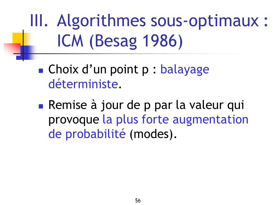 56 III.Algorithmes sous-optimaux : ICM (Besag 1986) Choix dun point p : balayage déterministe. Remise à jour de p par la valeur qui provoque la plus f