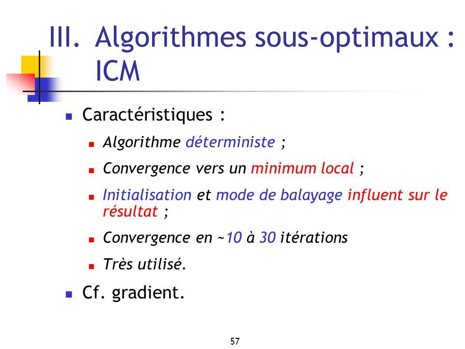 57 III.Algorithmes sous-optimaux : ICM Caractéristiques : Algorithme déterministe ; Convergence vers un minimum local ; Initialisation et mode de balayage influent sur le résultat ; Convergence en ~10 à 30 itérations Très utilisé.